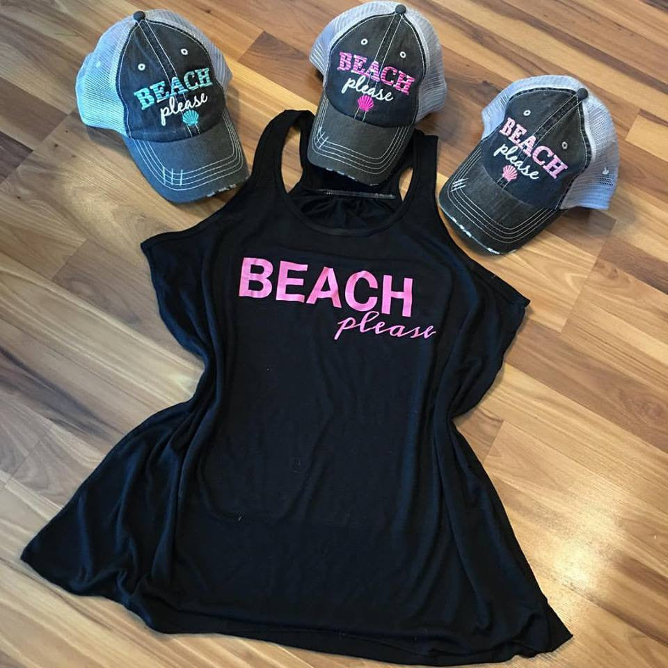 Hats and tanks { Beach please } 3 color hats and 3 color tanks.