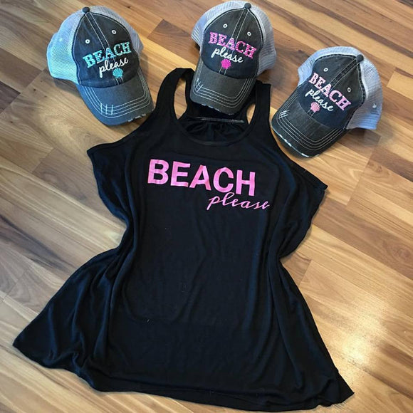 Hats and tanks { Beach please } { Beach hair don't care } Pool, cruise, boat, mermaid, kayak, surf, lake, river!