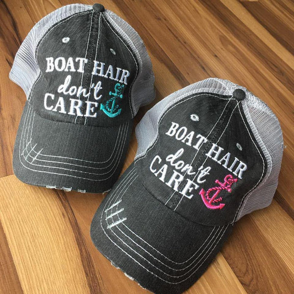 Hat Boat Hair Don T Care Teal Or Pink Anchor Free