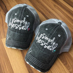 Blessed Hats { Simply Blessed } Pink or teal cross. Gray distressed trucker cap with adjustable Velcro. - Stacy's Pink Martini Boutique