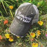 Hat { Mommin' Ain't Easy } Gray or black/white herringbone. - Stacy's Pink Martini Boutique
