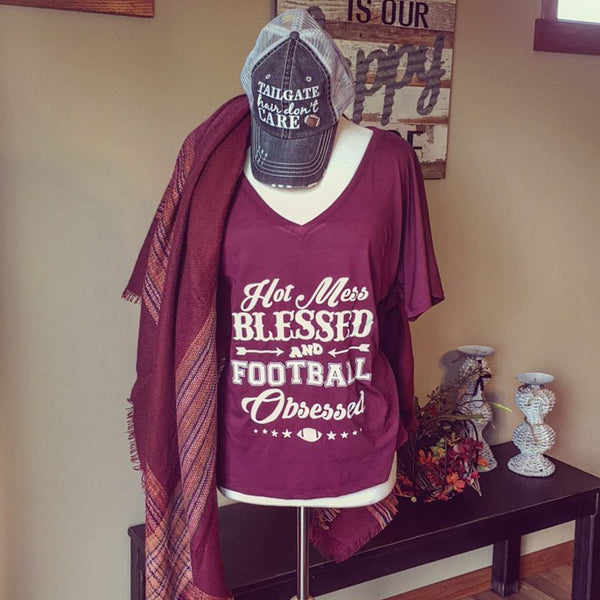 T-Shirt { Hot mess Blessed and Football Obsessed } Wine, Black, Red or blue. S-XXL