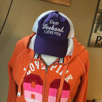 Hat. Dear weekend I love you. Purple/white. 1 left! $10 hat sale! - Stacy's Pink Martini Boutique