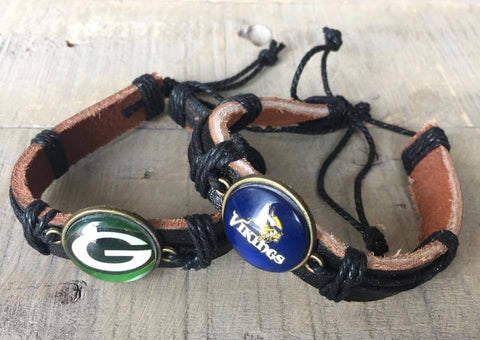 Green Bay Packers Football Bracelet | Unisex brown leather - Stacy's Pink Martini Boutique