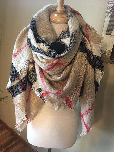 Blanket scarf { Plaid } Camel