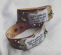 Amazing! Bracelet { God is within her. She will not fail } Psalm 46:5. Click here to see other sayings and designs! https://stacyspinkmartiniboutique.com/products/bracelets-cuffs-1 - Stacy's Pink Martini Boutique