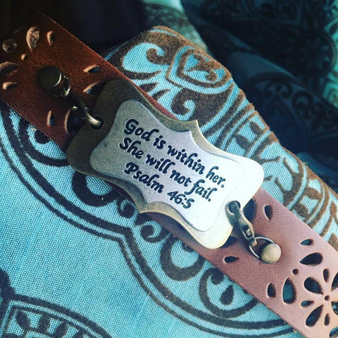 Bracelet {God is within her. She will not fail} Psalm 46:5. Click here to see other sayings and designs! https://stacyspinkmartiniboutique.com/products/bracelets-cuffs-1