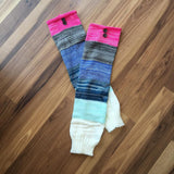 { Leg warmers/boot toppers/hand warmers } Pink, blue, grey stripes. - Stacy's Pink Martini Boutique