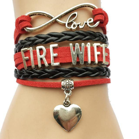 Bracelet { Fire wife } Firefighter. Heart. Infinity. Love. - Stacy's Pink Martini Boutique