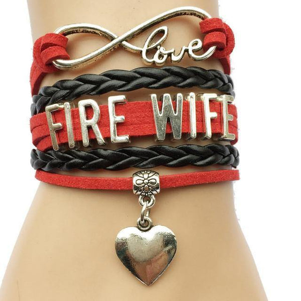 Bracelet { Fire wife } Firefighter. Heart. Infinity. Love.