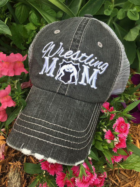 Hats { Wrestling mom } Black, teal, red or pink.