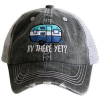 Camping hats { RV there yet? } Gray with pink & teal or gray with blue and pink. Embroidered distressed trucker cap with adjustable Velkro & hole for pony. Unisex. Vintage camper. Camping.