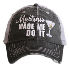 Hats { Martini hair don't care } Black or gray. Martini glass with green olive.