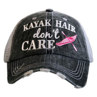Hat { Kayak hair don't care } Teal or pink kayak. Kayak caps. Unisex trucker hats. - Stacy's Pink Martini Boutique