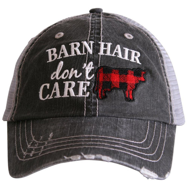 Barn Hat { Barn hair dont care } Embroidered trucker cap ~ Red & black Buffalo plaid ~ Cow - Stacy's Pink Martini Boutique
