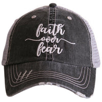 Faith over fear hat | Embroidered gray distressed trucker cap | God Pray Jesus Cross - Stacy's Pink Martini Boutique