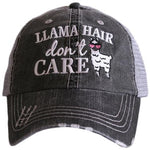 Llama hats | Embroidered distressed gray trucker caps - Stacy's Pink Martini Boutique