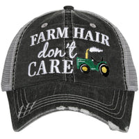 Hat { Farm hair dont care } Tractor. John Deer. Gray with white embroidered letters. Distressed trucker cap. Adjustable velcro. - Stacy's Pink Martini Boutique