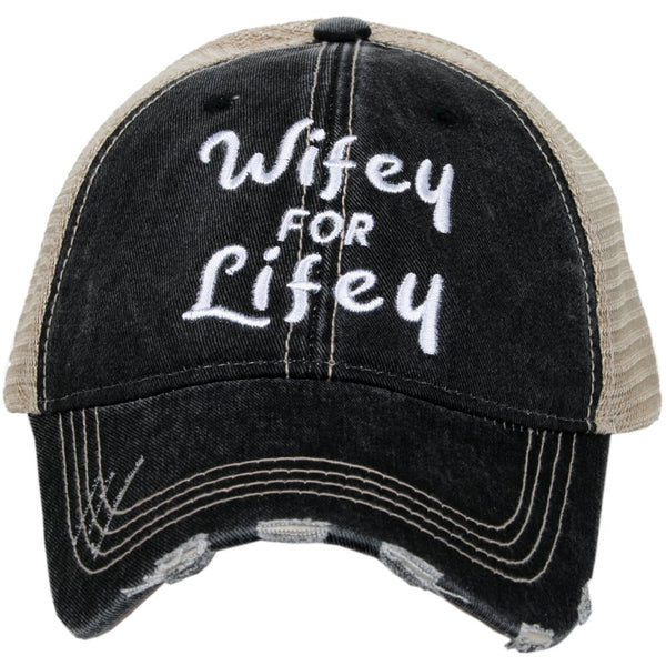 Wife hat | Wifey for lifey | Happy Wife Happy Life | Wifey | Aint no wifey | Embroidered distressed trucker cap | Personalize with wedding dates and names - Stacy's Pink Martini Boutique