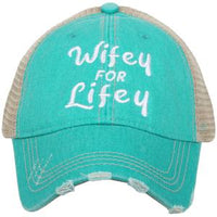 Wife hat | Wifey for lifey | Trophy wife | Happy Wife Happy Life | Wifey | Aint no wifey | Embroidered distressed trucker cap | Personalize with wedding dates and names - Stacy's Pink Martini Boutique