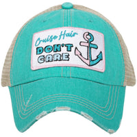 Hat { Cruise hair don't care } { Bo-oze cruise } Embroidered distressed trucker caps. - Stacy's Pink Martini Boutique