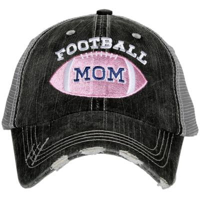 Hat { Football mom } Gray with pink football • Embroidered • Distressed trucker cap • Adjustable Velcro • Women's • - Stacy's Pink Martini Boutique