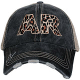 State hats | LEOPARD letters | Gray embroidered distressed trucker cap, adjustable velkro, hole for pony. Unisex.