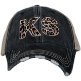 Hats { States } LEOPARD! Gray embroidered distressed trucker cap with adjustable velcro and hole for pony. Unisex. - Stacy's Pink Martini Boutique