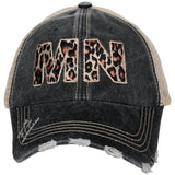 Minnesota state MN leopard trucker cap. Embroidered hat with state abbreviation. Mesh back with adjustable velkro.