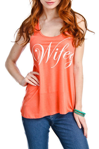 Wife Tank tops WIFEY Coral white black gray S - XXL. Mom Bride - Stacy's Pink Martini Boutique