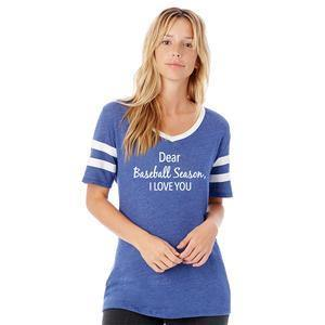 Baseball t-shirts | Dear Baseball season I love you | Varsity vintage v-neck | Red, grey or blue | S - XL - Stacy's Pink Martini Boutique