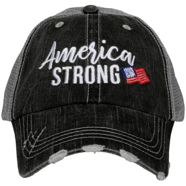 Hats ~ America Strong ~ Embroidered gray distressed trucker cap - Stacy's Pink Martini Boutique