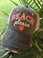 Hats. Beach please. Gray with pink OR teal letters and shell. Unisex embroidered distressed trucker cap with adjustble velcro and hole for pony. - Stacy's Pink Martini Boutique