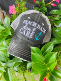 Hola beaches hats! | Womens embroidered trucker cap | Personalize | Beach hats | Cute palm trees, sunshine, waves and seashell | Girls weekend accessories. - Stacy's Pink Martini Boutique