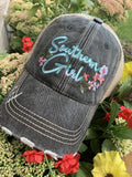 Southern girl hats Embroidered distressed womens trucker caps  4 colors - Stacy's Pink Martini Boutique