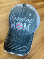 Baseball Grandma • Mimi • Nana • Gigi | Embroidered gray distressed trucker caps | Personalize - Stacy's Pink Martini Boutique