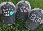 Hat { Barn hair don't care } Horseshoe in pink, blue or white. FREE SHIP and FREE jewelry with each hat!