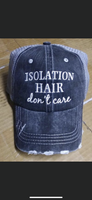 Hats. Quar•antined hair don't care • Isolation hair don't care • Not today corona • Isolate & chill • Elbow bumps only • This too shall pass • Embroidered unisex gray trucker caps