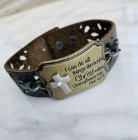 Bracelet | I can do all things through Christ who strengthens me Philippians 4:13 | Adjustable leather wrap - Stacy's Pink Martini Boutique