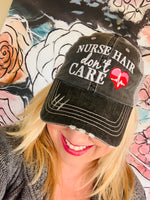 Nursing hats and jewelry! NURSE hair dont care | Nursing student school graduation gift | Womens embroidered trucker cap | RN, LPN, CNA stethascope cap - Stacy's Pink Martini Boutique