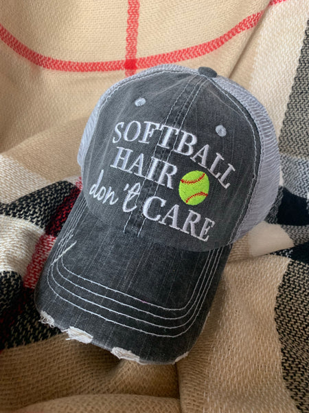 Softball hats! Softball mom • Softball hair dont care | Embroidered gray distressed adjustable trucker caps | Personalize - Stacy's Pink Martini Boutique