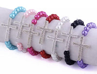 Bracelet { Cross } Stretch. Assorted colors. Beaded. Pearl. Silver. Blue • Pink • Red • White • Black • Fuchsia - Stacy's Pink Martini Boutique
