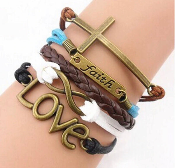 Faith bracelet | Cross love and infinity | Leather with extender - Stacy's Pink Martini Boutique