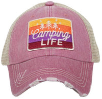 Hats or tanks { I'M A HAPPY CAMPER } { Camping hair don't care } { Camping life } { Glamping hair don't care } Embroidered distressed gray unisex trucker caps. Adjustable Velcro and hole for pony. RV there yet? - Stacy's Pink Martini Boutique