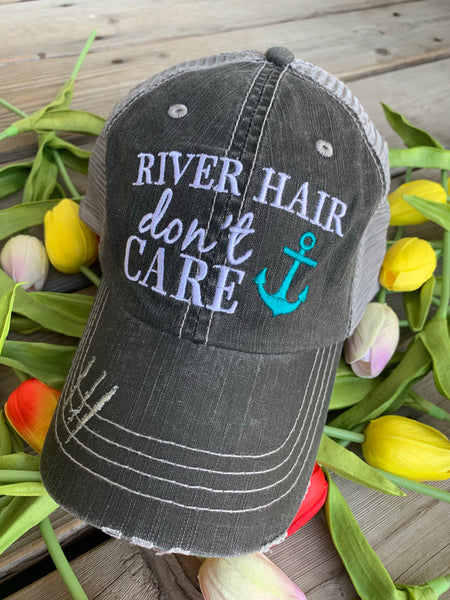 Hats { Lake hair don't care } { Happy Camper } { River hair don't care } { Beach hair don't care } { Tailgate hair don't care } - Stacy's Pink
