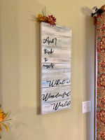 Sign { and I think to myself what a wonderful world } Louis Armstrong. Custom made. You can choose color and shape. - Stacy's Pink Martini Boutique