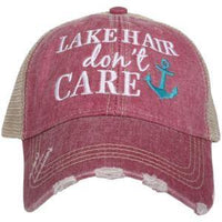 Lake hats! Lake hair don't care  ~ Embroidered, distressed, trucker caps • Anchor - Stacy's Pink Martini Boutique