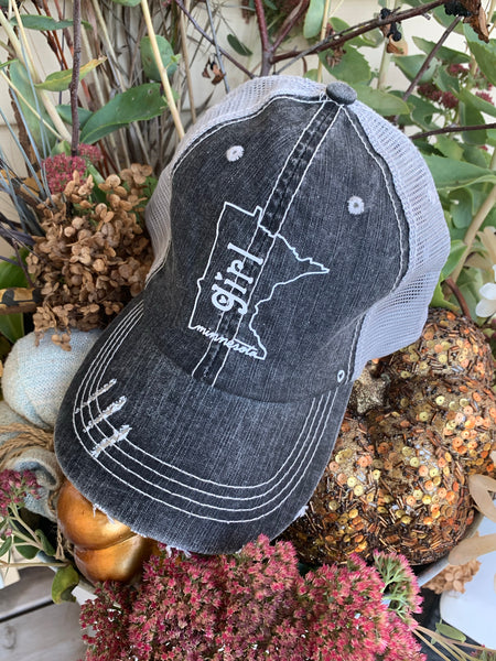 Hats and car decals { Minnesota Girl } Gray. White glitter vinyl. Adjustable Velcro. - Stacy's Pink Martini Boutique
