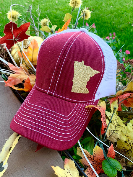Minnesota Golden Gophers hat • Maroon-white gold glitter state of Mn • Trucker - Stacy's Pink Martini Boutique