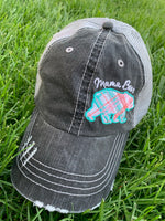 Hat { Don't mess with mama } Customize with last names, kids names, sports numbers! Embroidered distressed trucker caps. Adjustable. - Stacy's Pink Martini Boutique